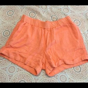 Ella Moss Linen Shimmering Lined Shorts Orange